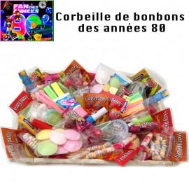 Grande Corbeille Bonbons rétro Stars des Années 80