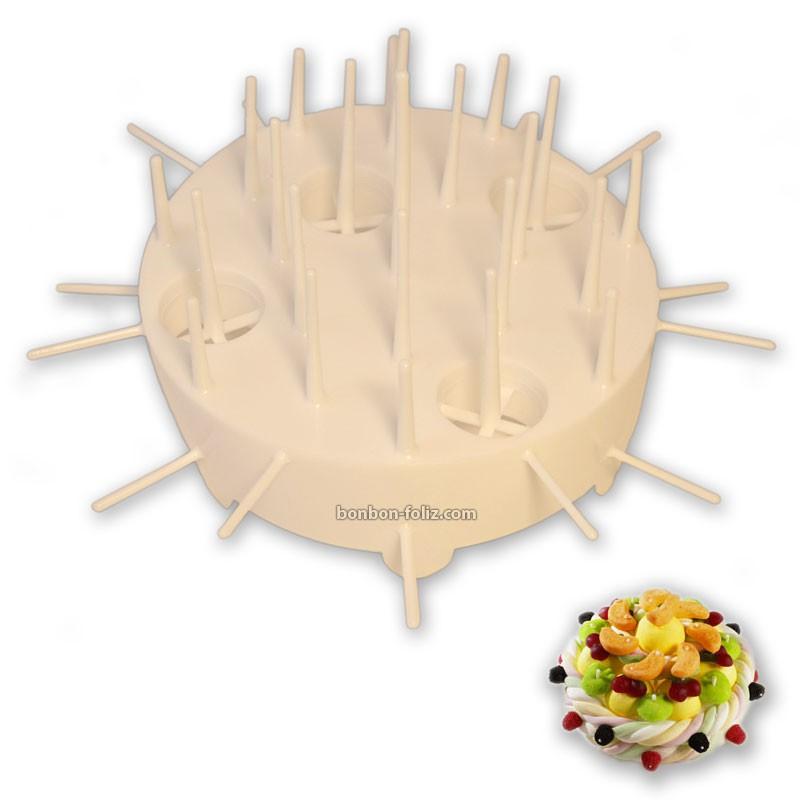 gateaux-de-bonbons;varietes-de-bonbons-et-supports-support-plastique-gateau-blanc-220mm