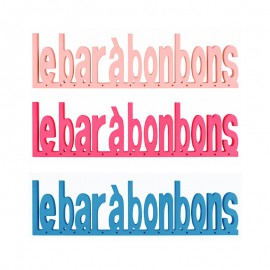 Texte bar à bonbon en bois couleur Bleue