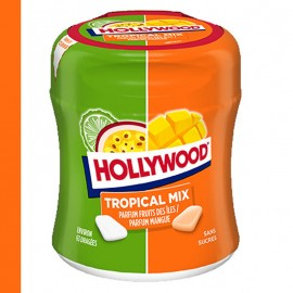 Hollywood Tropical mix, chewing gum bottle sans sucre