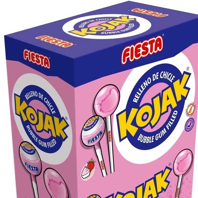 Kojak - Sucette Bubble Gum Fraise Glace, sachet vrac de 50 pièces