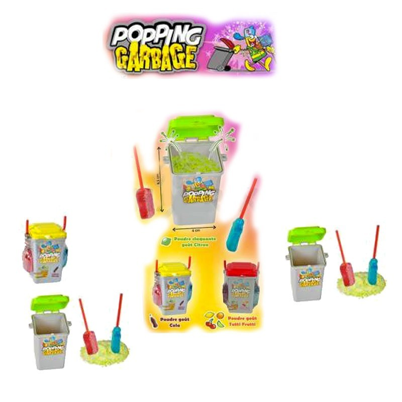 Popping Garbage, bonbon poubelle poudre sucette, 6 pièces