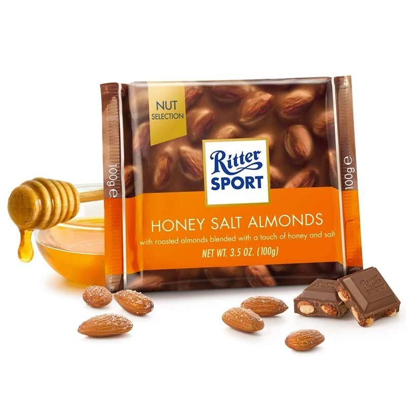 Ritter sport 100gr chocolat amande sel miel, 11 pièces
