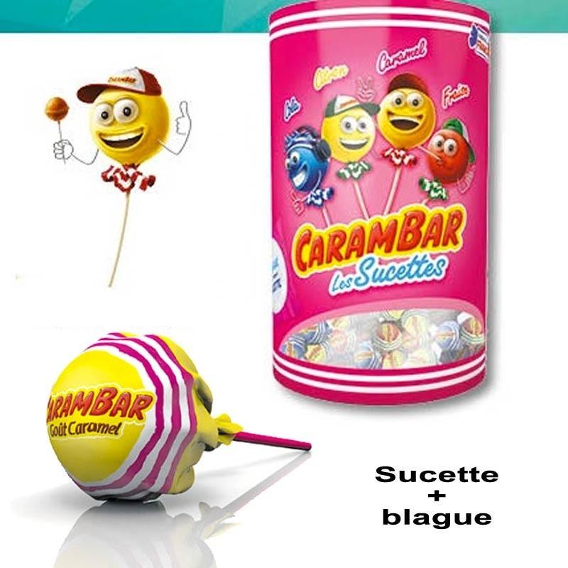 Sucette carambar caramel et fruits, 50 pièces