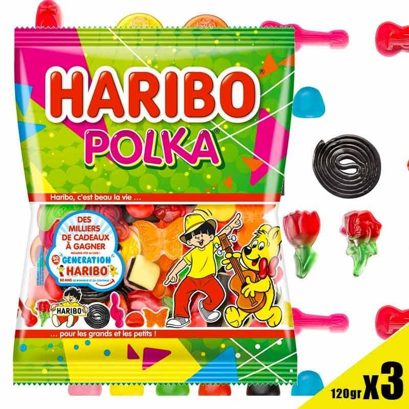 Polka mélange bonbons Haribo 120g x 3