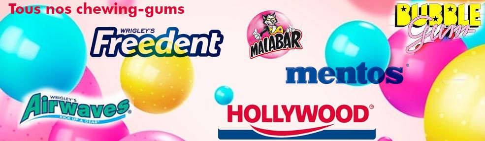 Tous nos chewing-gum, bubble gum, chewing-gum Hollywood, mentos bottle, freedent white